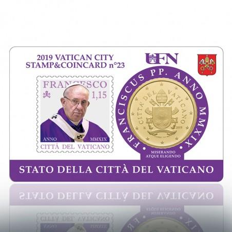 (11.02.2019) STAMP & COIN CARD 2019 1.15 PONT. (VIOLA)
