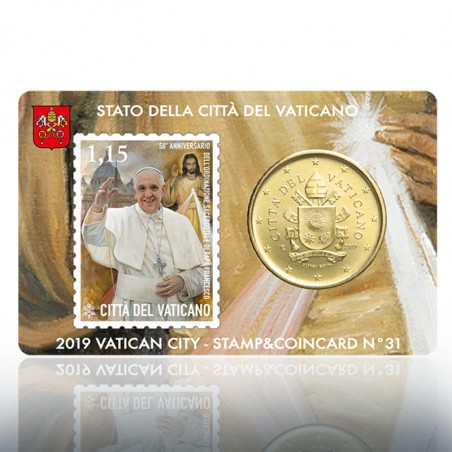 (04-11-2019) STAMP & COIN CARD 2019 1,15 ORD. SAC. PAPA FRANCESCO